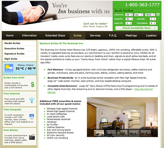 The Business Inn Room Page