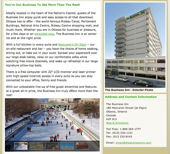 The Business Inn Internal Page Detail