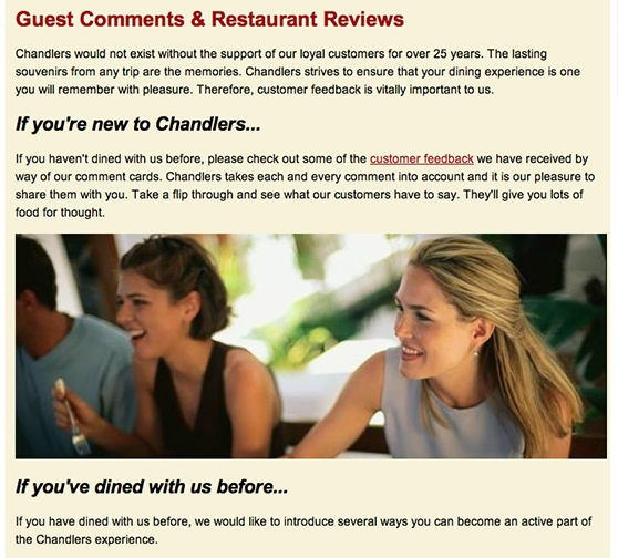 Chandlers Customer Feedback Page