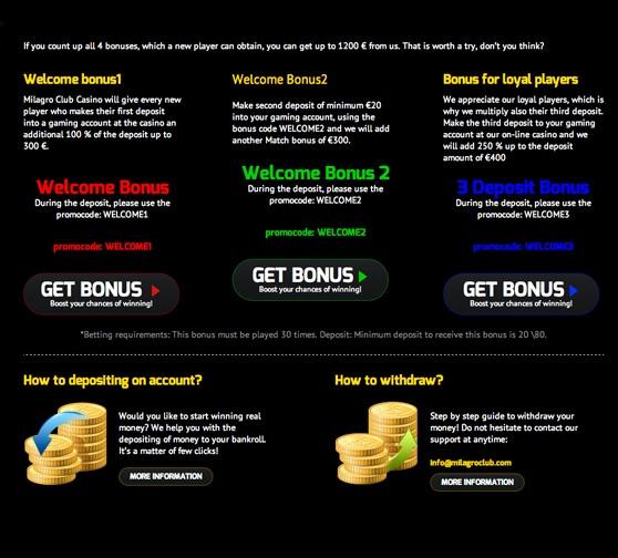 Milagro Club  Bonus Page